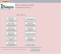 Industrial Hygiene Main Menu Screen - Screenshot - SMARTouch Industrial Hygiene Gallery